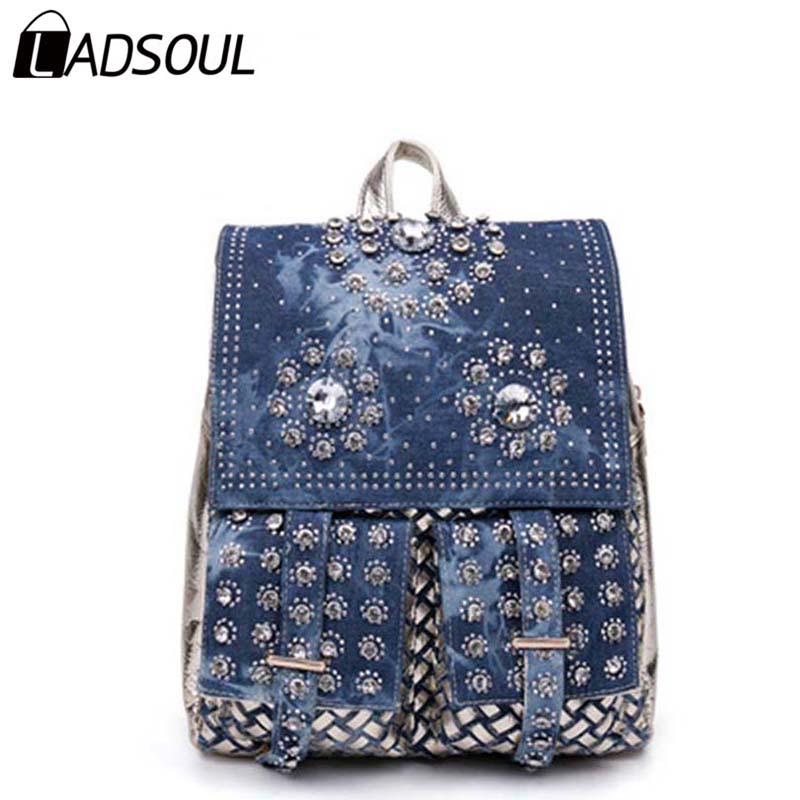 LADSOUL Backpack Women Bags For Girl Fashion Diamonds School Style Shiny Cool Bag Female Canvas Women Popular Backpack A3983/h feral cat square fashion women pvc backpack traveling shipping bags school girl female backpack free shipping