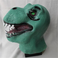 Top Grade 100% Latex Halloween Mask Reality Green Dinosaur Head Mask Adult Cosplay Fancy Dress For Party Animal Masks dinosaur