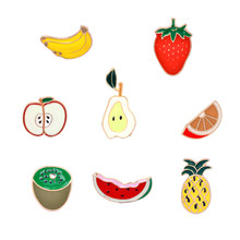 Mode Strawberry/Apple/Pisang/Pear Buah Semangka Kostum Perhiasan Tas Jean Topi Aksesoris Logam Enamel Pin Kerah bros(China)