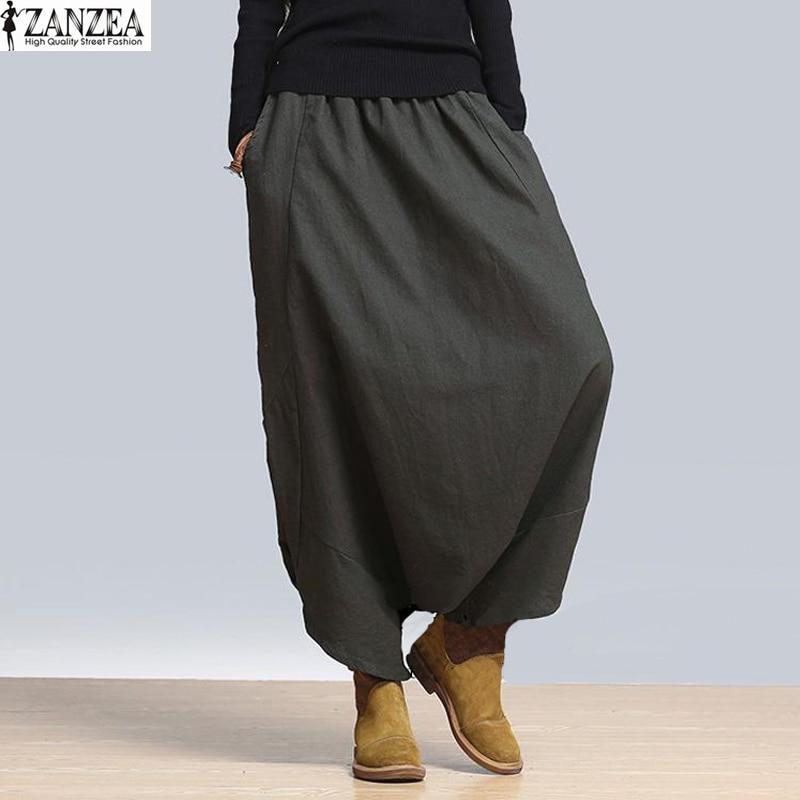 ZANZEA 2018 Női magas derék hosszú nadrág Pantalones laza alkalmi Harem Pant széles lábak plusz túlméretezett teljes hosszúságú táska nadrág