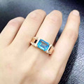 Natural blue topaz stone Ring Natural gemstone Ring S925 sterling silver trendy Luxury Thick big men women's party fine Jewelry