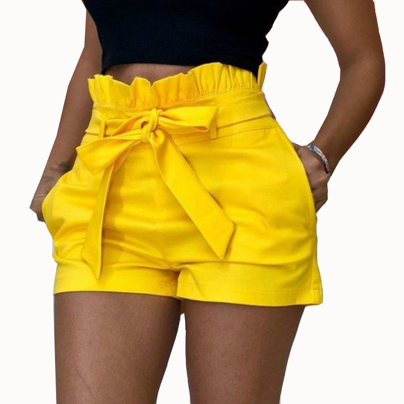 S-5XL Oversized Short Women Summer Loose Short   Pants   Beach Fashion Pockets   Wide  -  leg   Casual Ruffles Short   Pants   Red Yellow Belt