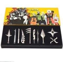 10pcs/set Metal Toy Sword Naruto Kunai Throwing Set Knife Mini Weapon Toys Cosplay Weapons
