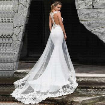 2019 New Beach Mermaid Appliques Lace Vestido De Noiva Amazing Back Train Cheap Wedding Dresses