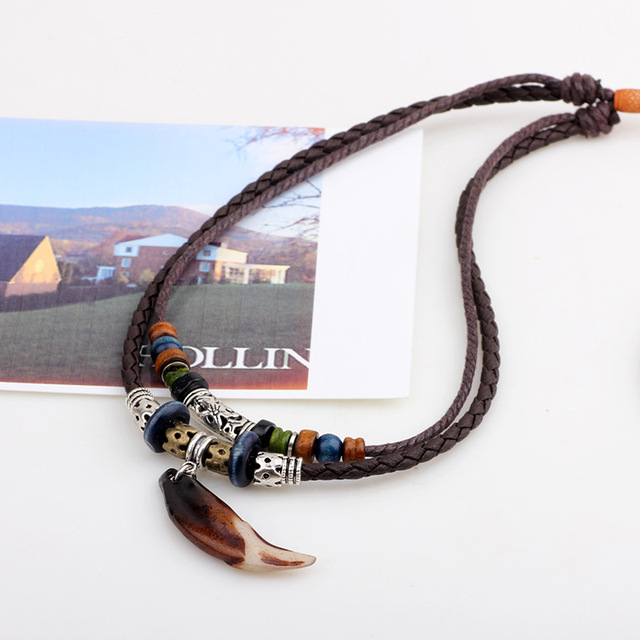 ER Vintage Tribal Boheme Wolf Tooth Necklace Braided Leather Rope Multi Layer Tibetan Beads Neckless Bohemian Jewelry LN066 2