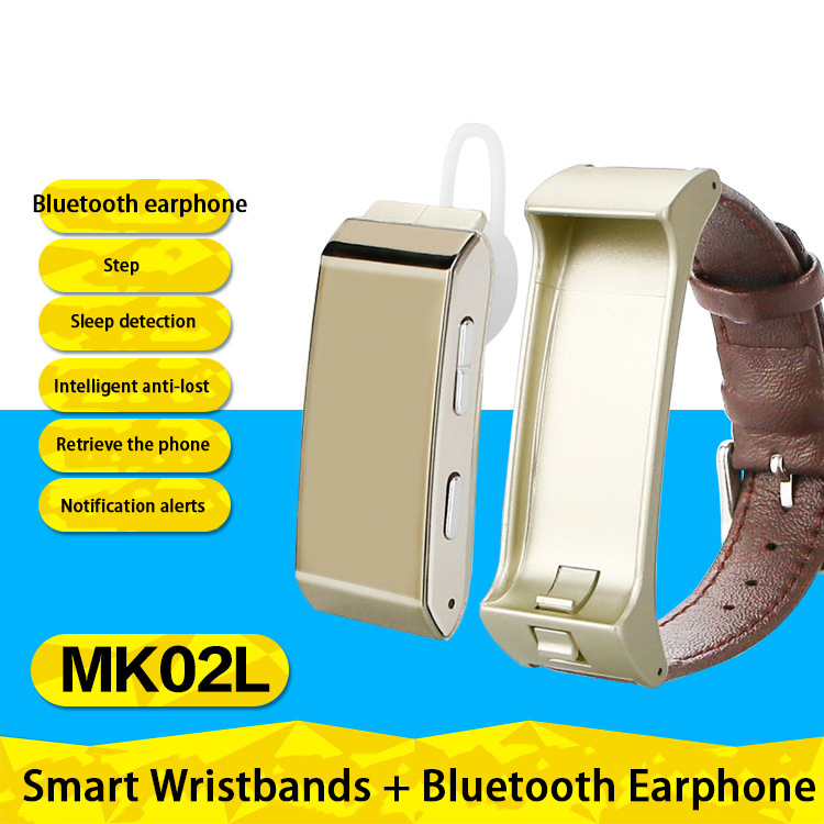 US $54 64 |Free Shipping MK02 Smart Sports Wristband Separate Type  Bluetooth Headset Call Health Monitoring Message Alert Step Tracker-in  Smart