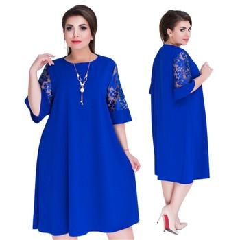 Summer Women Dress Plus Size Lace Transparent Sleeve Loose Half Sleeve Dress Fashion Elegant Lady Party Dress Vestidos 5XL цена 2017