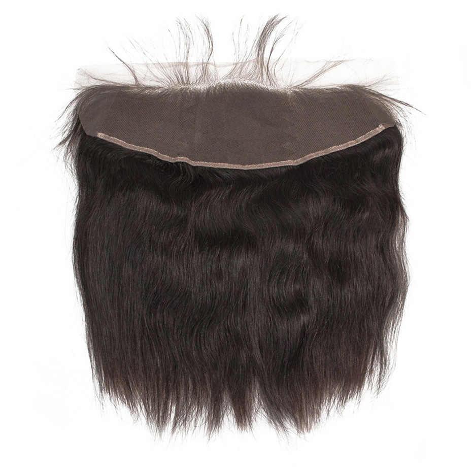 Paquetes rectos de pelo virgen indio sin procesar con paquetes de tejido de pelo Frontal con 13x4 encaje Frontal envío gratis HJ tejido belleza