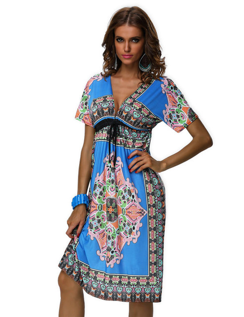 Free Shipping Four Colors ML18037 Blue V Neck Sexy Vintage Paisley Print  Hippie Bohemian Summer Dress a1c4cffba11d