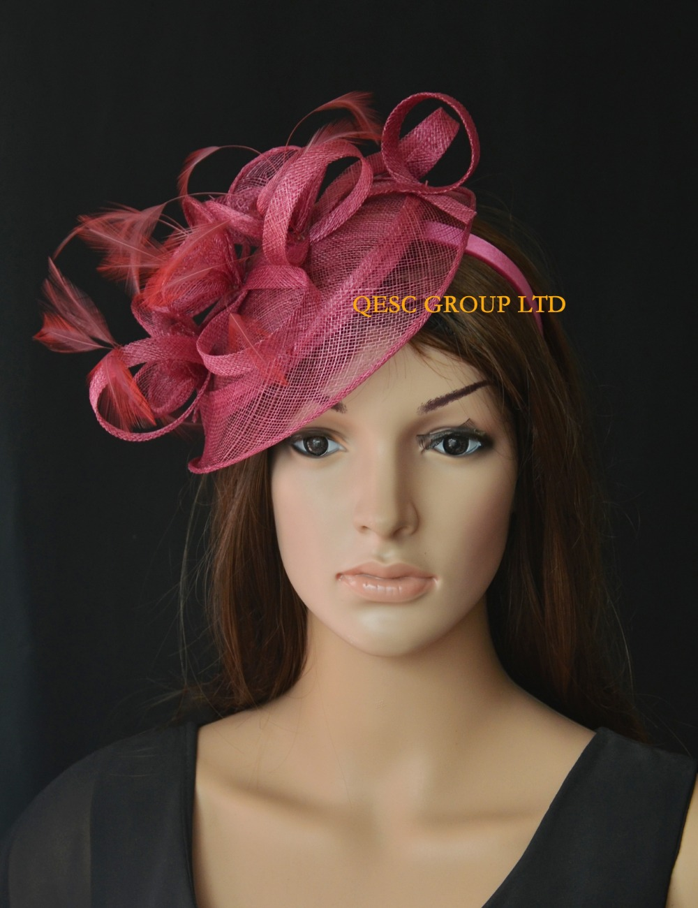NEW Wine pink feather sinamay fascinator hat for races wedding kentucky  derby 28ae17b9159