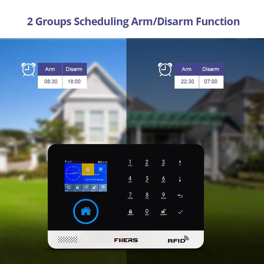 FUERS Upgrade PG103 WIFI GPRS GSM Home Security Alarm System APP Control  Siren Smoke PIR Motion Detector RFID Keyboard DIY Set