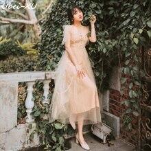 Ubei Summer dress 2019 new French girls love orange summer small fresh net gauze thin fairy