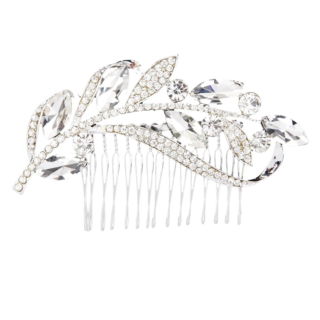 Leaves rhinestone hair comb bride font b jewelry b font