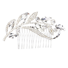 Leaves rhinestone hair comb bride jewelry