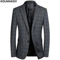 2018 New Men's Blazers Male Autumn Winter mens Classic Plaid Blazer Jackets Homme Business Luxury Blazers for gentlemen M 3XL