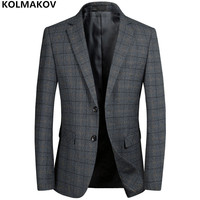 KOLMAKOV New Men's Blazers Male work Suit Grey mens Classic Plaid Blazer Jackets Homme Business Luxury Blazers for gentlemen 3XL