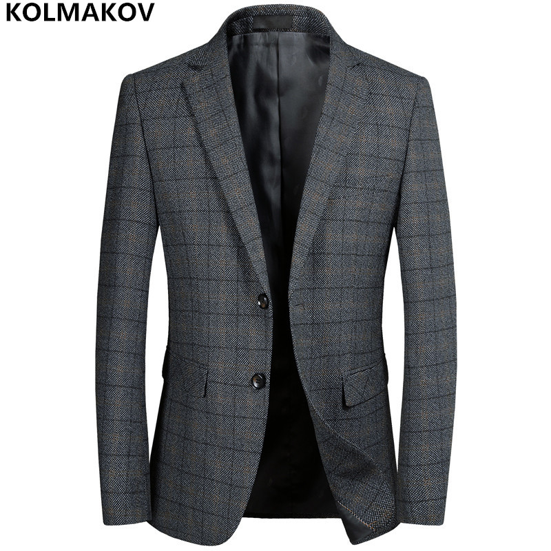 KOLMAKOV New Men's Blazers Male work Suit Grey mens Classic Plaid Blazer Jackets Homme Business Luxury Blazers for gentlemen 3XL