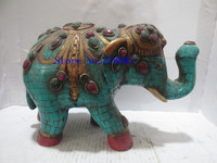 100% Collection Of Rare Tibetan Imitation Turquoise Inlaid More Stones Elephant Statue/old Handwork Sculpture