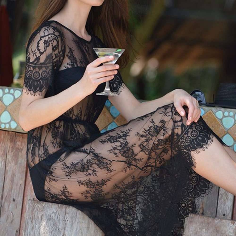 Zomer Dames Midi Jurken Lange zwarte korte mouw O-hals Zien door Beach Wear kanten sexy jurk