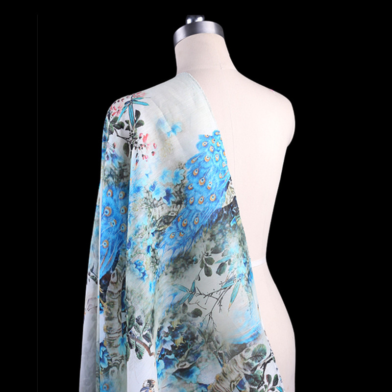 SLK10 50X140CM Summer Chinese Style Peacock Printed Cotton Fabric For Women Dress 2018 S ...