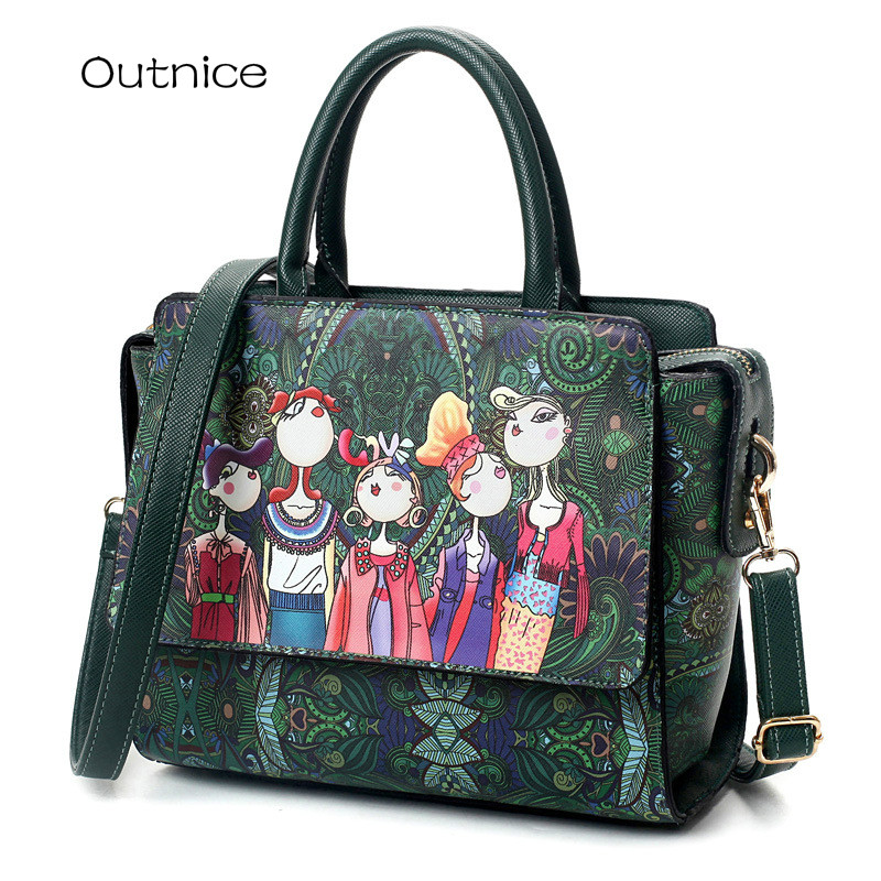 Fashion Dark Green Forest Cartoon Printing Women Pu Leather Messenger Top-handle Bags Female Retro Flap Shoulder Bag Handbag dark blue zippered faux leather handle conference file contract bag container