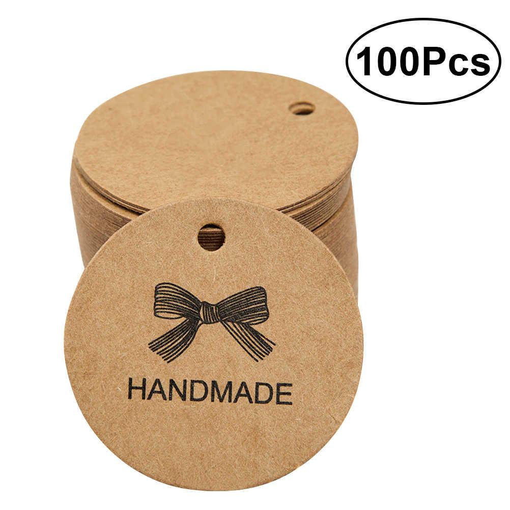 100 шт ручной работы цена Крафтовая бирка бумажные бирки круглые Свадебные