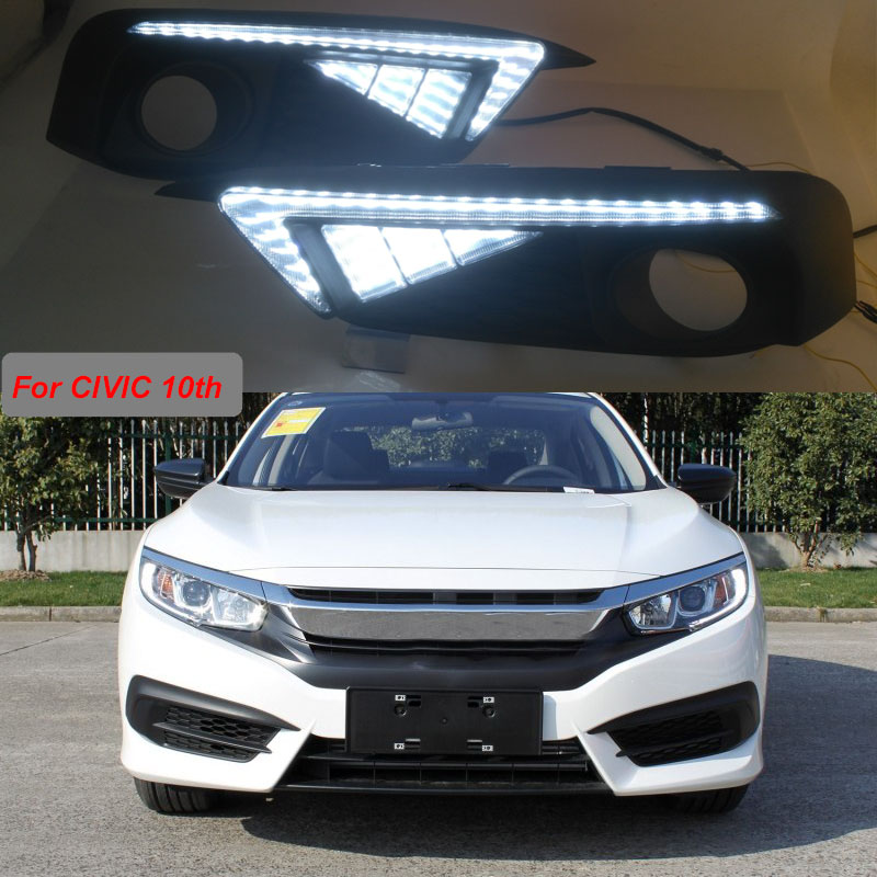 For Honda CIVIC 2016 2017 2018 turn signal relay car-styling waterproof 12V LED CAR DRL Daytime running lights fog lamp cover for honda civic 2016 2017 2018 turn signal relay car styling waterproof 12v led car drl daytime running lights fog lamp cover