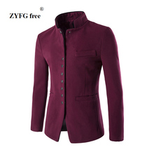 Nieuwe 2017 stijl herfst winter mannen casual pak mannen pop Stand kraag Kamgaren Stof pocket Knop versieren mannen Leisure suit jas