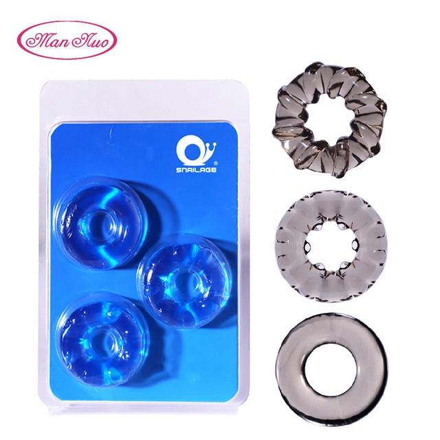 Man Nuo 3pcs/Set Silicone Cock Ring Penis Enlargement Condoms For Men Extender Intimate Goods Penis Ring Reusable Condom R4