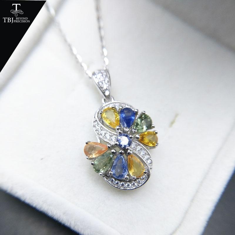 TBJ Naturel fantaisie couleur saphir 2.25ct tanzanite pendentif en 925 en argent sterling collier de pierres précieuses pour les femmes cadeau avec la boîte