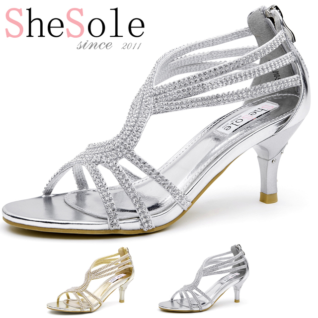 dfd3c622824ba SheSole brand 2016 rhinestone sparkly wedding shoes woman ankle strappy  diamond zip silver gold 6.5cm bridal kitten heels comfy
