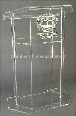 Wholesale Free Shipping Beautiful Dull Clear Polish Acrylic Podium Lectern With Shelf Acrylic Table