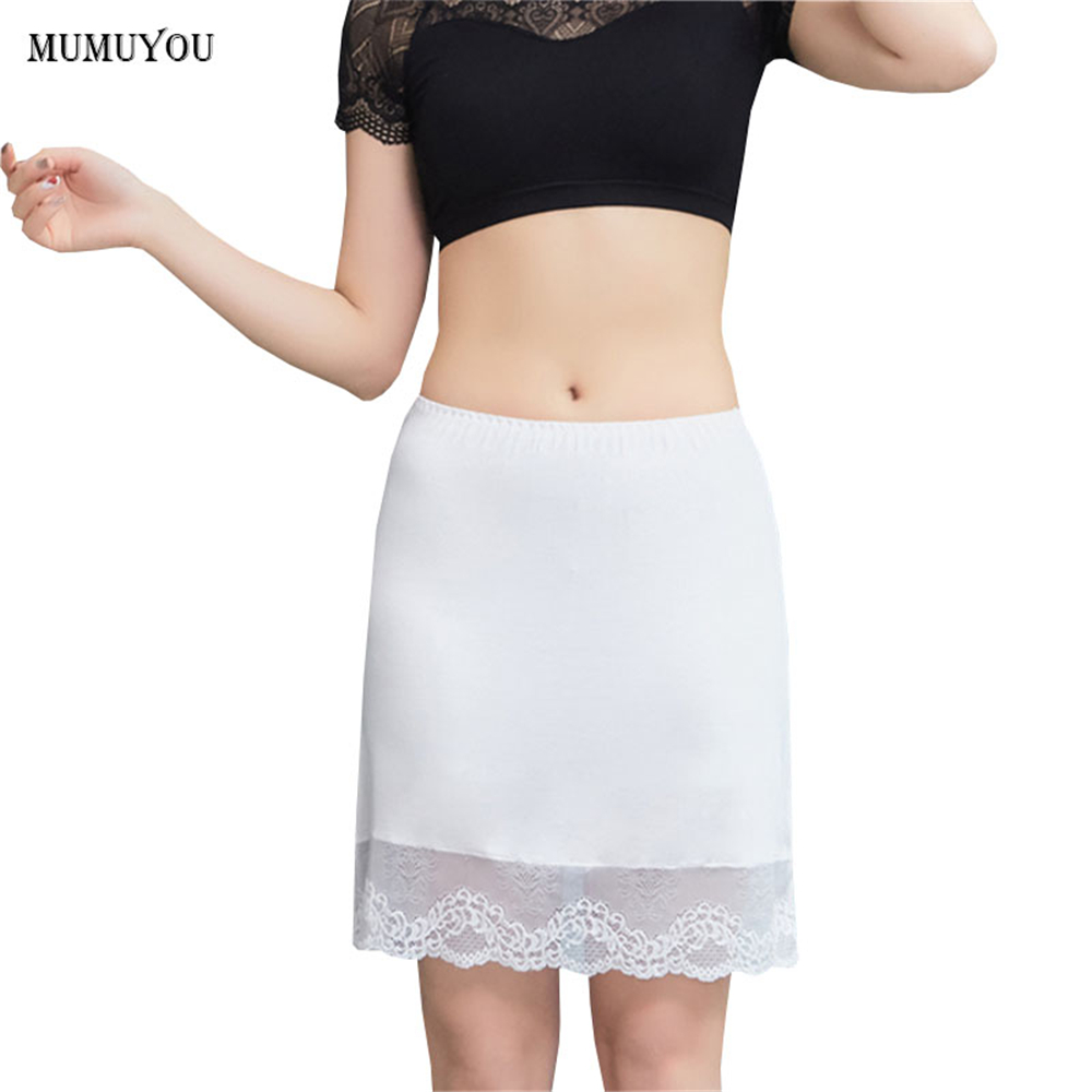Women Modal Lace Half Slips Underskirt Elastic Waist Petticoat Safety Skirt Sexy <font><b>Lingerie</b></font> <font><b>Intimates</b></font> 42cm White Nude New 038-A363 image