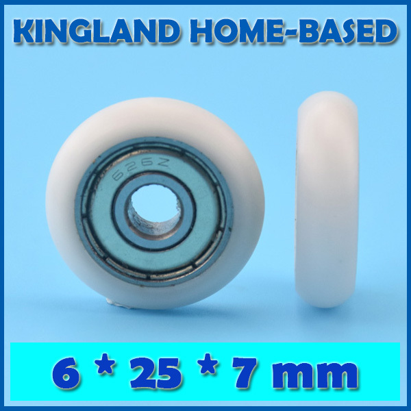 10pcs 6*25*7mm Nylon Plastic Carbon Steel Bearings Pulley Wheels Embedded Groove Ball Bearings Dia 6mm Nylon Roller Wheel