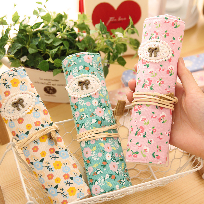 Cute Kawaii Roll Floral Canvas Pencil Case Flower Pen Bag Zakka Korean Stationery Estuches School Supplies Gift