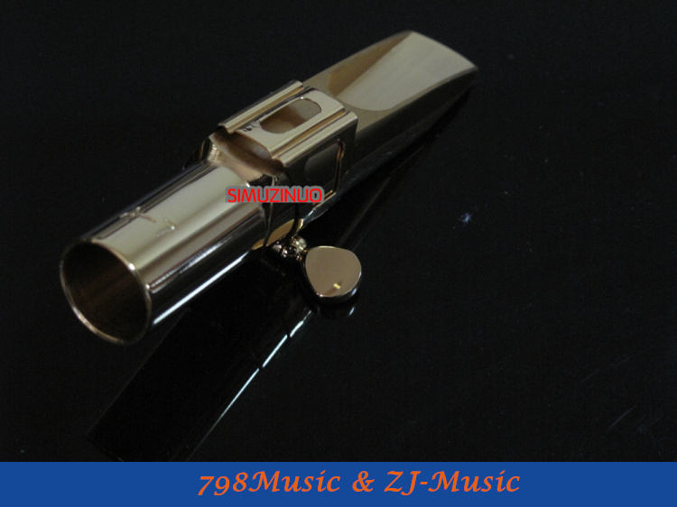 Modèle de A-7-embout Saxophone Alto en métal professionnel plaqué or