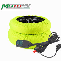 New Digital Motorcycle Tyre Warmer Tire Warmer 120/180 120/190 120/200 Front and Rear Thermo Bike Blankets Fluorescent Green