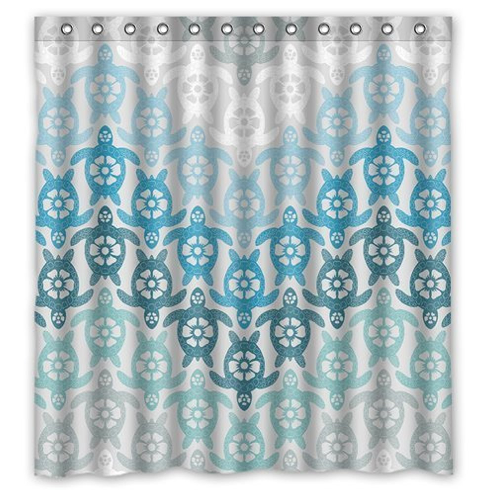 Aqua Chevron Shower Curtain - Personalized cartoon series sea turtle blue and white chevron style sold by too amazing shower curtain bath decor curtain