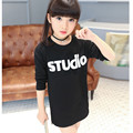 Kids costumes Girls t-shirt Kids new arrival lengthen t shirt long sleeve printing T-shirt children clothes Black t-shirts White