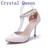 クリスタル女王女性に縁取られた靴白いハイヒールプラットフォームアンクルサテンサン