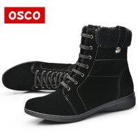 OSCO מותג נשי חורף מגפי נשים מגפי שלג חם אישה נעלי גודל חום שחור מגפי זמש פרווה קרסול אופנה 36-41 #42311 P