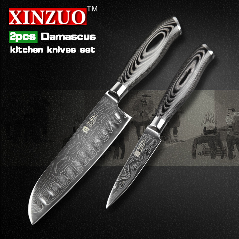 2 pcs kitchen font b knife b font set 73 layers Japanese Damascus kitchen font b