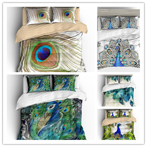 3D Peacock  Feather Printing Duvet Cover Set Blue Microfiber Bedding Set  Muliti Size Bedclothes Home Textile