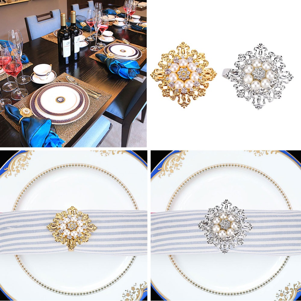 6PCS/Set Napkin Ring Pearl Rhinestone Buckle Festival Decor Gold/Silver Napkin Ring Kitchen Product Table Decoration For Eeating