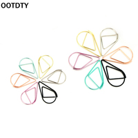 OOTDTY 10Pcs/pack  Cute Metal Paper Clip Pin Book Bookmark Memo Clip Office School Stationery