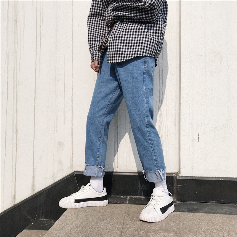 2018 Korean Style Men's New Baggy Homme Stretch Brand Straight   Jeans   Fashion Trend Casual Pants Blue All-match Trousers S-2XL
