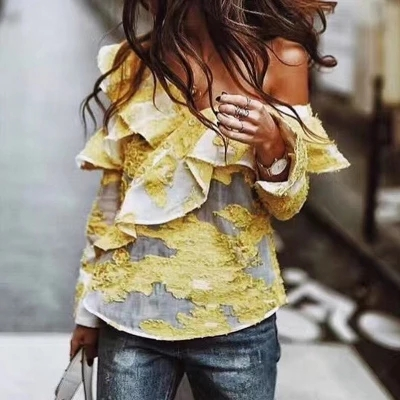 2018 new arrive slash neck self portrait women tops long sleeve yellow embroidery off shou