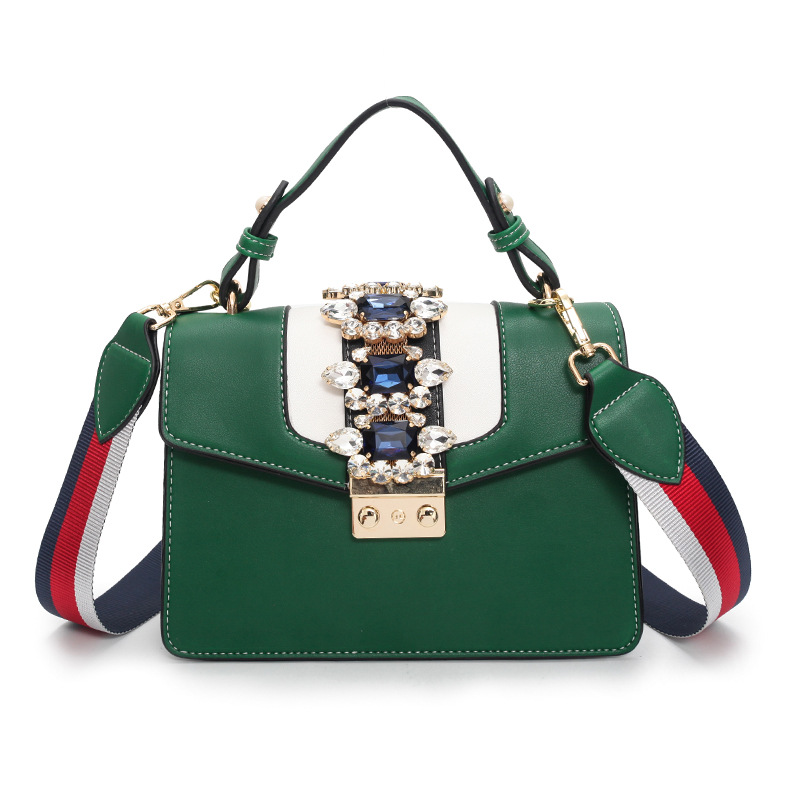 Womens Leather Gem handbag Luxury Royal Blue Red Green Crossbody Shoulder Purse Ladies crystal Hand bags Famous Brand Flap ToteWomens Leather Gem handbag Luxury Royal Blue Red Green Crossbody Shoulder Purse Ladies crystal Hand bags Famous Brand Flap Tote