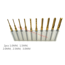 High quality 10pcs / lot Titanium Nitride Coated Carbide PCB CNC Drill Bits Router 1.0mm-3.0mm(China (Mainland))