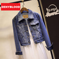 2015 New Spring High Street Americana Bomber Ladies Slim Spliced Denim Short Jeans Women Jackets and Coats CG55